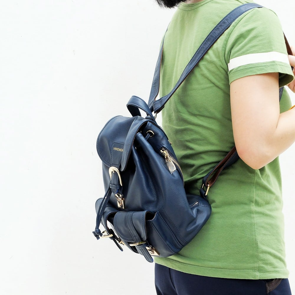 blue backpack genuine leather